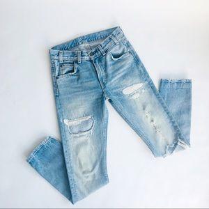 Vintage Levis 505 S24 Distressed Orange Tab Jeans